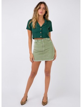 Viserce Cord Mini Skirt Khaki by Princess Polly