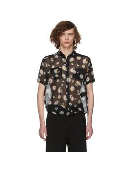 Black Short Sleeve Flower Shirt by Saint Laurent
