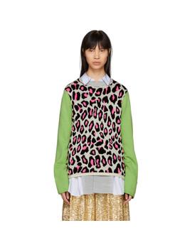 White Leopard Knit Sweater by Comme Des GarÇons Homme Plus