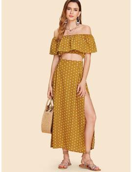 Off Shoulder Polka Dot Top With Splited Dress by Sheinside
