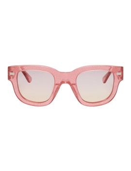 Pink Glitter Frame Metal Sunglasses by Acne Studios