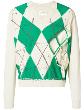 Distressed Argyle Sweaterhome Men Clothing Jumpers by Maison Margiela