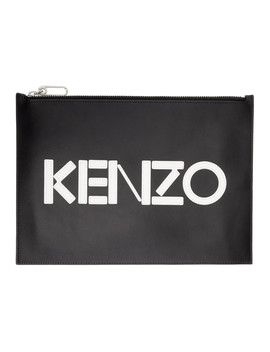 Black Logo Zip Pouch by Kenzo