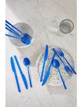 12 Piece Matte Blue Flatware Set by Urban Outfitters