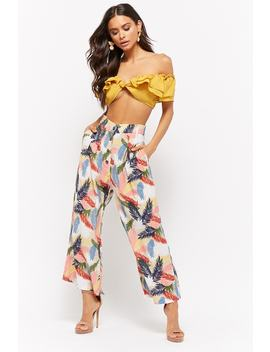 Foliage Print Wide Leg Trousers by Forever 21