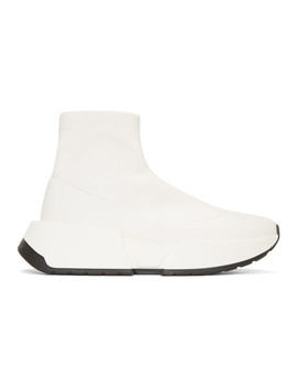 White Second Skin Platform High Top Sneakers by Mm6 Maison Martin Margiela
