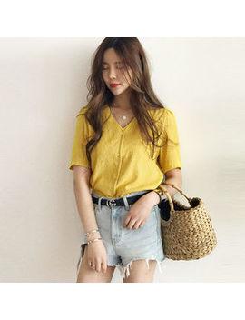 V Neck Short Sleeve Shirt by Naning9