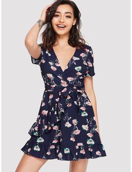 Self Tie Waist Floral Print Dress by Sheinside