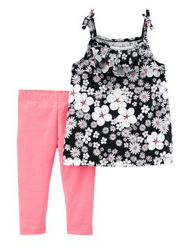 2 Piece Floral Tie Shoulder Top & Capri Legging Set by Carter's