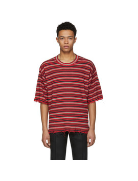 Red Striped Distressed T Shirt by Maison Margiela