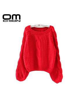 Omchion New 2017 Spring Autumn Casual Women Sweaters And Pullovers Lantern Sleeve Short Sweater Loose Pull Femme Sw96 by Omchion