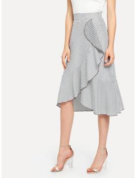 Grid Print Ruffle Skirt by Sheinside