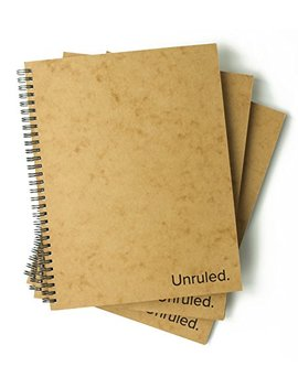 Unruled Notebook (3 Pack): Environmentally Sustainable, Designed By College Students For Visual Notetaking, 60 Unlined Perforated Sheets, 8 X 10.5 Inches by Unruled.