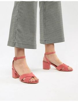 Mango Suedette Cross Front Block Heel Sandal In Pink by Mango