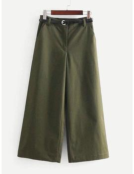 Solid Wide Leg Pants With Belt by Sheinside