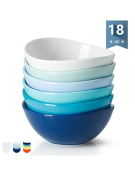 Sweese 1122 Porcelain Bowls   18 Ounce For Cereal, Salad, Dessert   Set Of 6, Cold Assorted Colors by Sweese