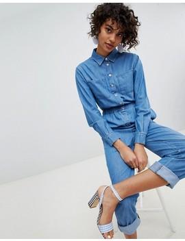 Asos Design – Blauer Utility Jeans Jumpsuit by Asos Design