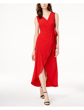 I.N.C. Faux Wrap Tulip Hem Dress, Created For Macy's by Inc International Concepts