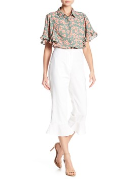 Cropped Flutter Hem Pants by June & Hudson