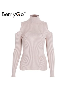 Berry Go Turtleneck Cold Shoulder Knitted Sweater Women Casual Cotton Streetwear Pullover Female Elegant Autumn Winter Jumper by Berry Go