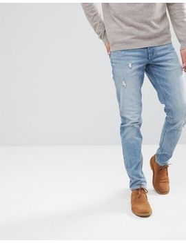 Asos Stretch Slim Jeans In Mid Wash With Abrasions by Asos