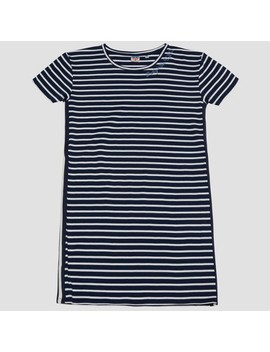 Junk Food Women's Party In The U.S.A. Striped Embroidered Dress   Navy Blue by Junk Food