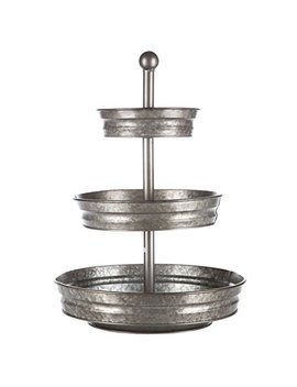 1 X 3 Tier Galvanized Round Metal Stand Outdoor Indoor Serveware by Generic