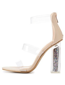 Bamboo Clear Three Piece Glitter Heel Sandals by Charlotte Russe