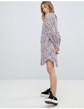 Monki Smudge Print Shirt Dress by Monki