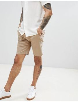 Burton Menswear – Stone Farbige Chino Shorts In Normaler Passform by Burton Menswear London