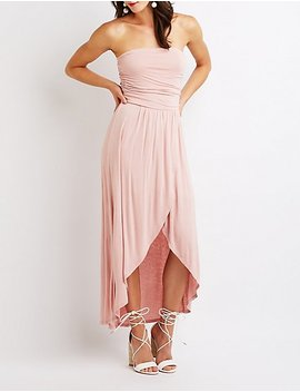 Ruched Strapless Wrap Maxi Dress by Charlotte Russe