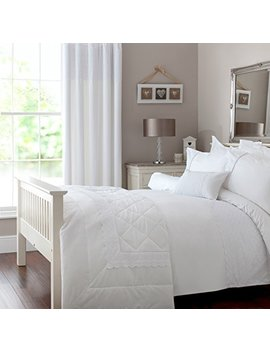 Zigguo 100 Percents Cotton, 3 Pcs Duvet Cover And Pillowcase Bedding Set,Solid White With Lace Trim Embroidered, No Insert Included (White Lace, King) by Zigguo