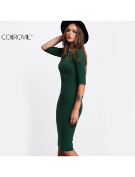 Colrovie Work Summer Style Women Bodycon Dresses Sexy 2017 New Arrival Casual Green Crew Neck Half Sleeve Midi Dress by Colrovie