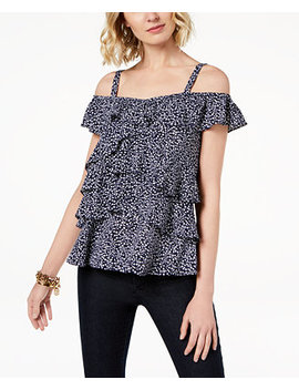 Ruffled Cold Shoulder Top by Michael Michael Kors