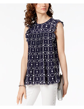 Pleated Embroidered Scallop Trim Top,A Macy's Exclusive Style by Michael Michael Kors