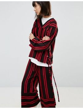 House Of Sunny Tie Side Top In Stripe Co Ord by House Of Sunny