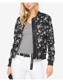 Embroidered Faux Leather Bomber Jacket by Michael Michael Kors