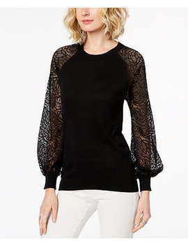 Petite Lace Sleeve Sweater by Michael Michael Kors