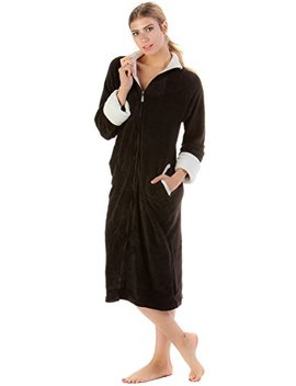 Casual Nights Women's Full Front Zip Up Plush Fleece Robe Housecoat by Casual Nights