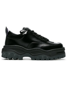 Black Angel Lift Leather Platform Sneakershome Women Shoes Trainers by Eytys