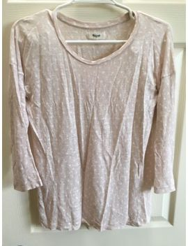 Euc Madewell Linen Polka Dot 3/4 Sleeve Top Xs Blush Pink by Madewell