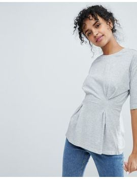Monki – T Shirt Mit Geraffter Vorderseite by Monki