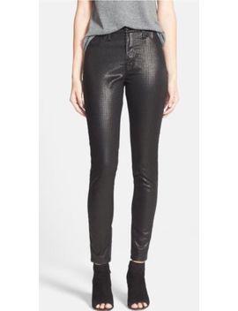 Hudson Jeans 25 Black Barbara High Rise Foil Print Houndstooth Skinny Pants Nwt by Hudson