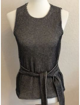 Madewell French Rib Tie Twist Black And White Tank Xs by Madewell
