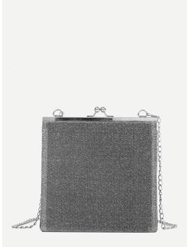 Kiss Lock Glitter Chain Bag by Sheinside