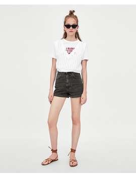 Mom  Fit Bermuda Shorts Denim Shorts Trf by Zara