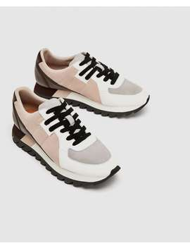 Contrasting Leather Platform Sneakers  Shoestrf by Zara