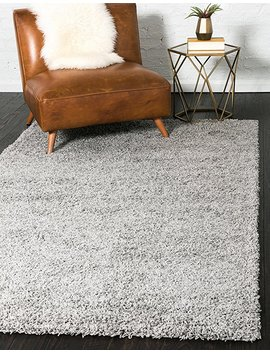 Unique Loom Solid Shag Collection Cloud Gray Area Rug (4' X 6') by Unique Loom