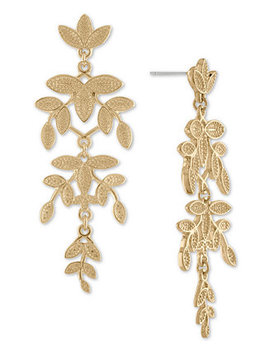 Gold Tone Leaf Chandelier Earrings by Rachel Rachel Roy