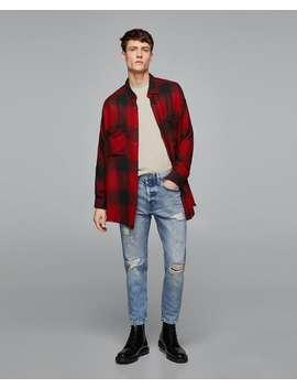 Dopasowane Spodnie Jeansowe W Stylu Vintage Z Rozdarciami  Slim Fit Jeans MĘŻczyzna by Zara